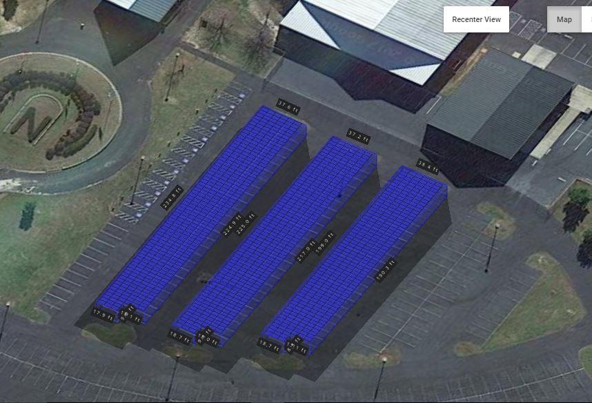 3D View of a 333kw Solar Carport