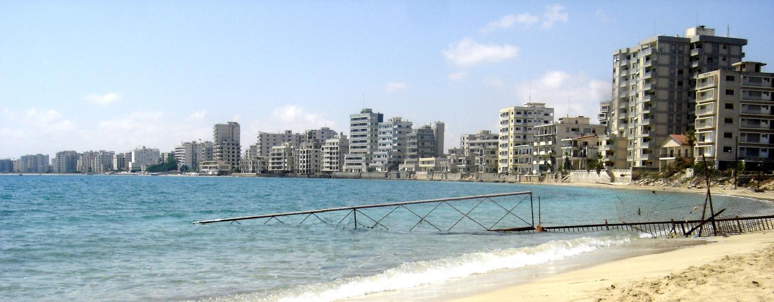 View of Varosha from the beach