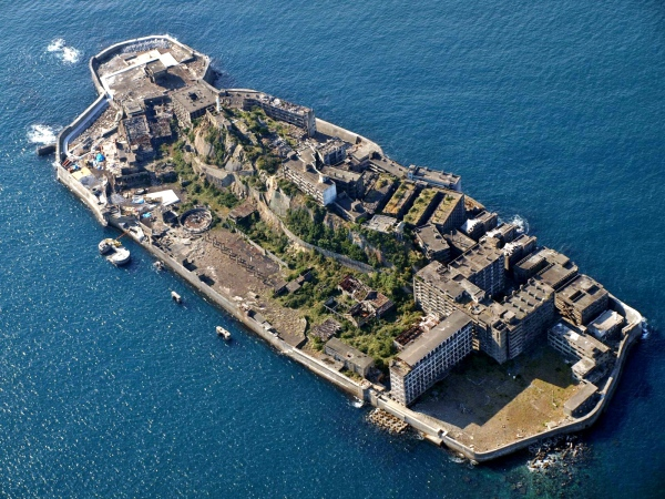 Aerial view of Hashima Island