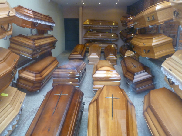 Coffins at the festival of near death experiences