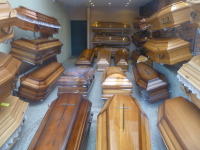 The festival of near death experience coffins waiting to be used