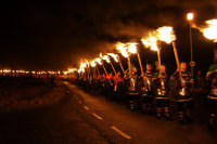 a torch led procession at Up Helly Aa
