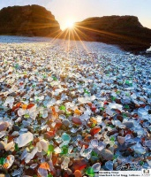 Sea glass decorated Glass Beach, California