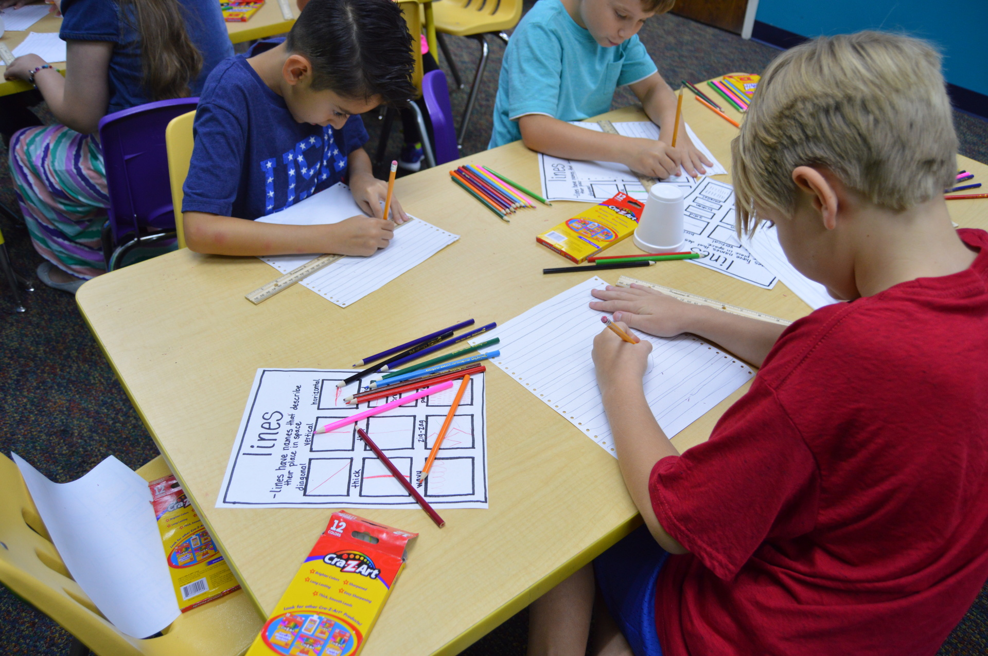 Third grade art class