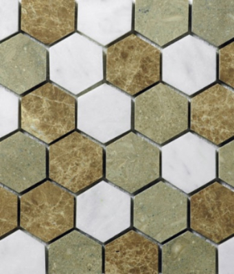 HEXAGON 3 MOSAIC HONED