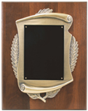 Plaques with scroll frames