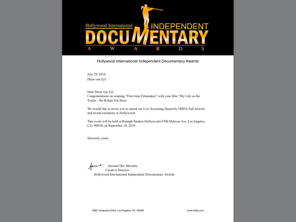 Invitation to 'Hollywood International Independent Awards'