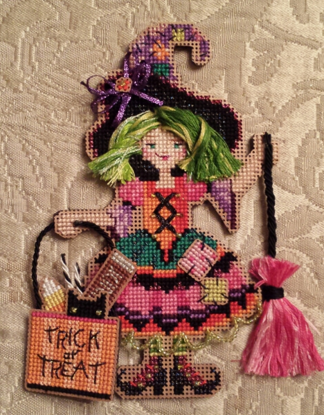Halloween cross stitch witch