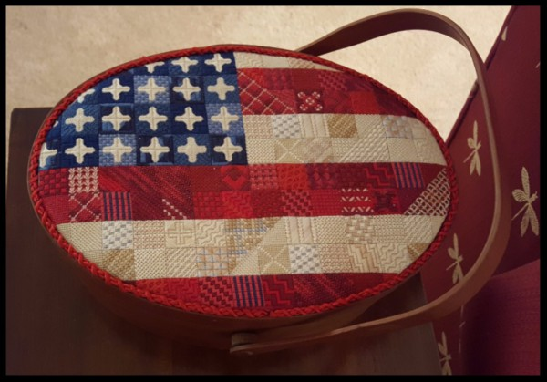 Needlepoint patriotic basket