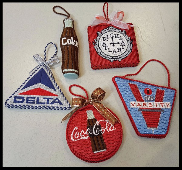 All Things Atlanta Christmas Needlepoint Ornaments