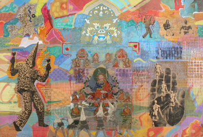 Intensely colored collage with a recurring African figure.