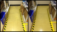 Before and after images of stripping and waxing commercial office and storage space