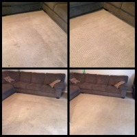 Before and after images of residential carpet cleaning job
