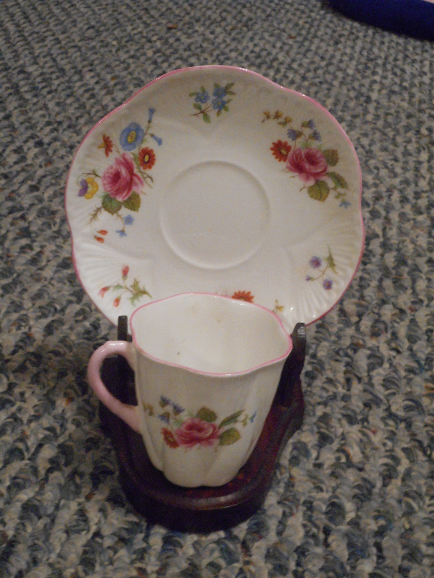 Cup and Saucer in Wooden Display Stand