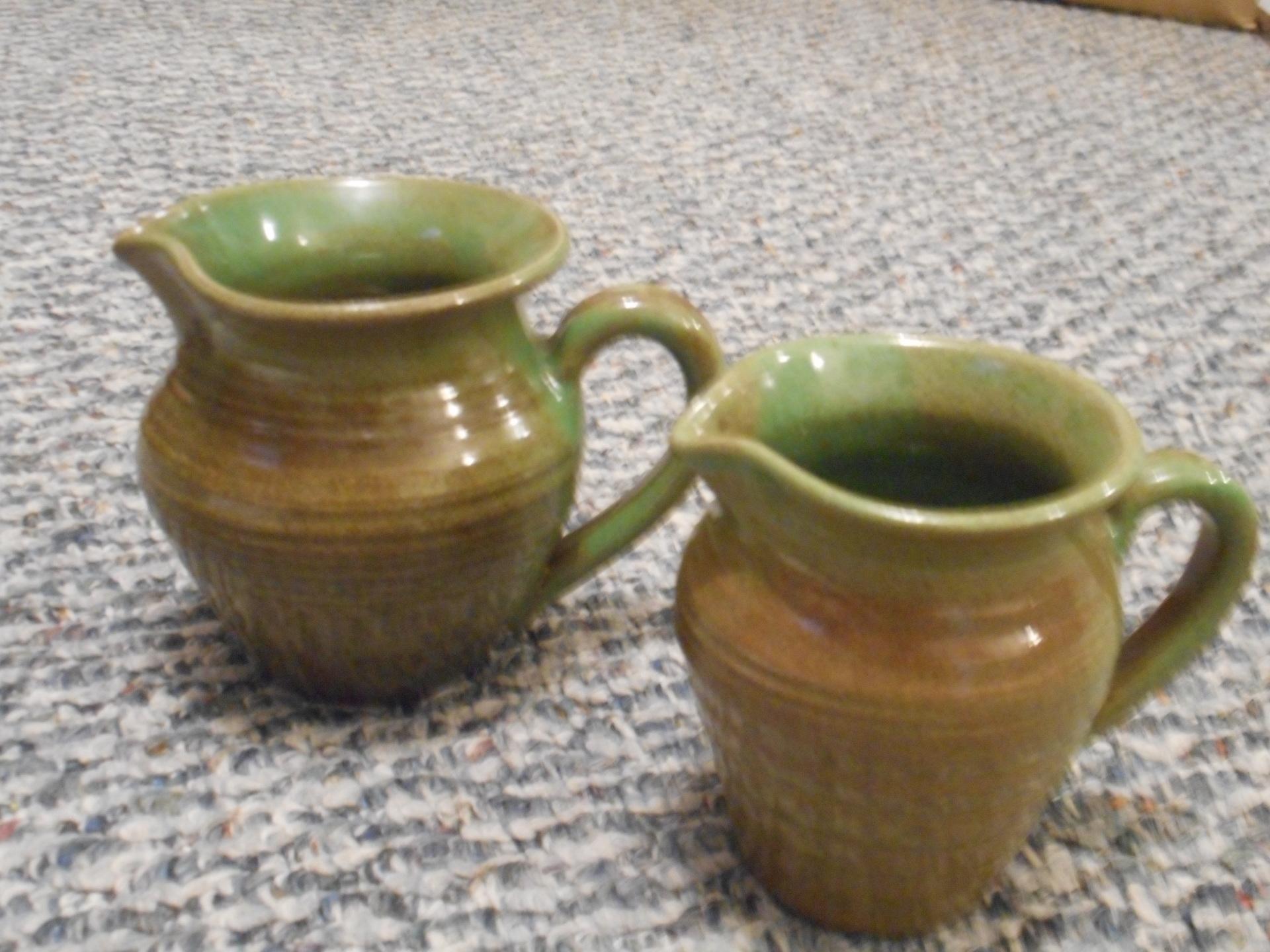 Green/Brown Earthenware Sugar and Creamer Set