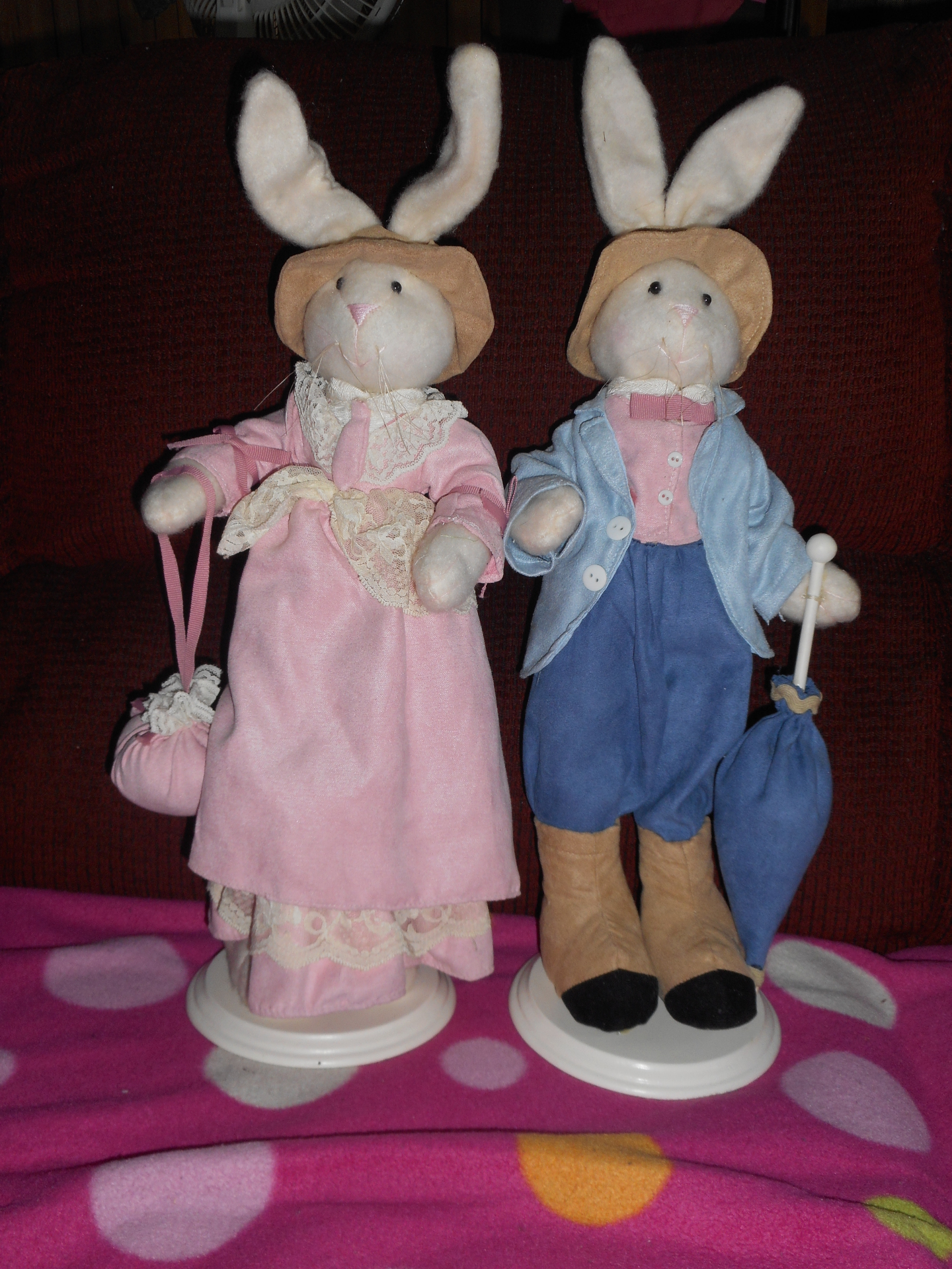 Bunny Rabbit Couple on Wooden Stands