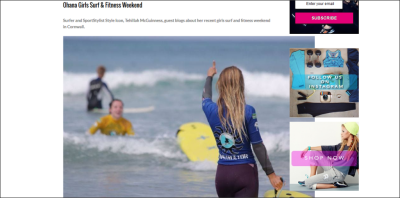 Surf Girl Magazine - Tehillah McGuinness South African celebrity Pro Surfer celebrity personal trainer, sports model, face of deeside mineral water, ambassador foe womens sport  UK, lives in Cornwall and Fuerteventura, blogger, travel blogger, health and fitness, fashion designer, presenter, athlete and business woman. CEO and Founder of Ohana Surf and Fitness, Charity Worker, cover girl, magazine and the UK's number one sports personality.
