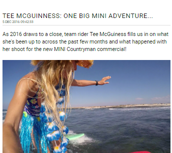 South African Born Celebrity Pro Surfer is the face of the new MINI Countryman  -  Tehillah McGuinness South African celebrity Pro Surfer celebrity personal trainer, the UK's top female surfing champion, the face of the new mini countryman car, sports model, face of deeside mineral water, ambassador for women's sport  UK, lives in Cornwall and Fuerteventura, blogger, travel blogger, health and fitness, fashion designer, presenter, athlete and business woman. CEO and Founder of Ohana Surf and Fitness, Charity Worker, cover girl, magazine and the UK's number one sports personality.