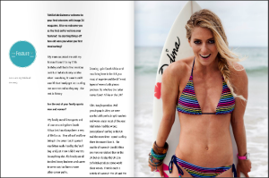Shape Magazine -  Tehillah McGuinness South African celebrity Pro Surfer celebrity personal trainer, the UK's top female surfing champion, the face of the new mini countryman car, sports model, face of deeside mineral water, ambassador for women's sport  UK, lives in Cornwall and Fuerteventura, blogger, travel blogger, health and fitness, fashion designer, presenter, athlete and business woman. CEO and Founder of Ohana Surf and Fitness, Charity Worker, cover girl, magazine and the UK's number one sports personality.