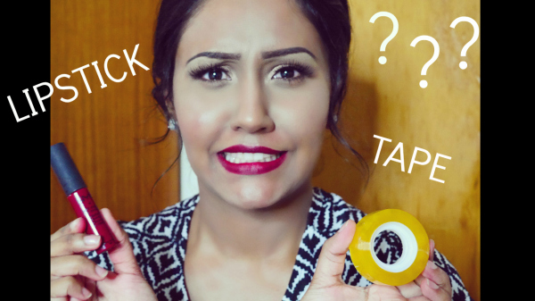 Using tape to apply lipstick!