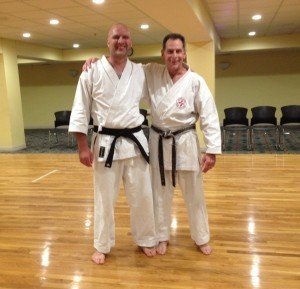 Sensei Irvine with Sensei Gurganus at our Karate class in Gainesville, GA