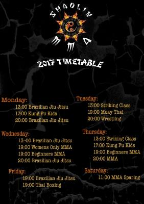 2017 New Class Timetable