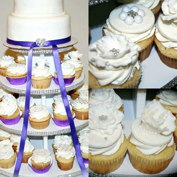 Custom Wedding Cake with matching cupcakes