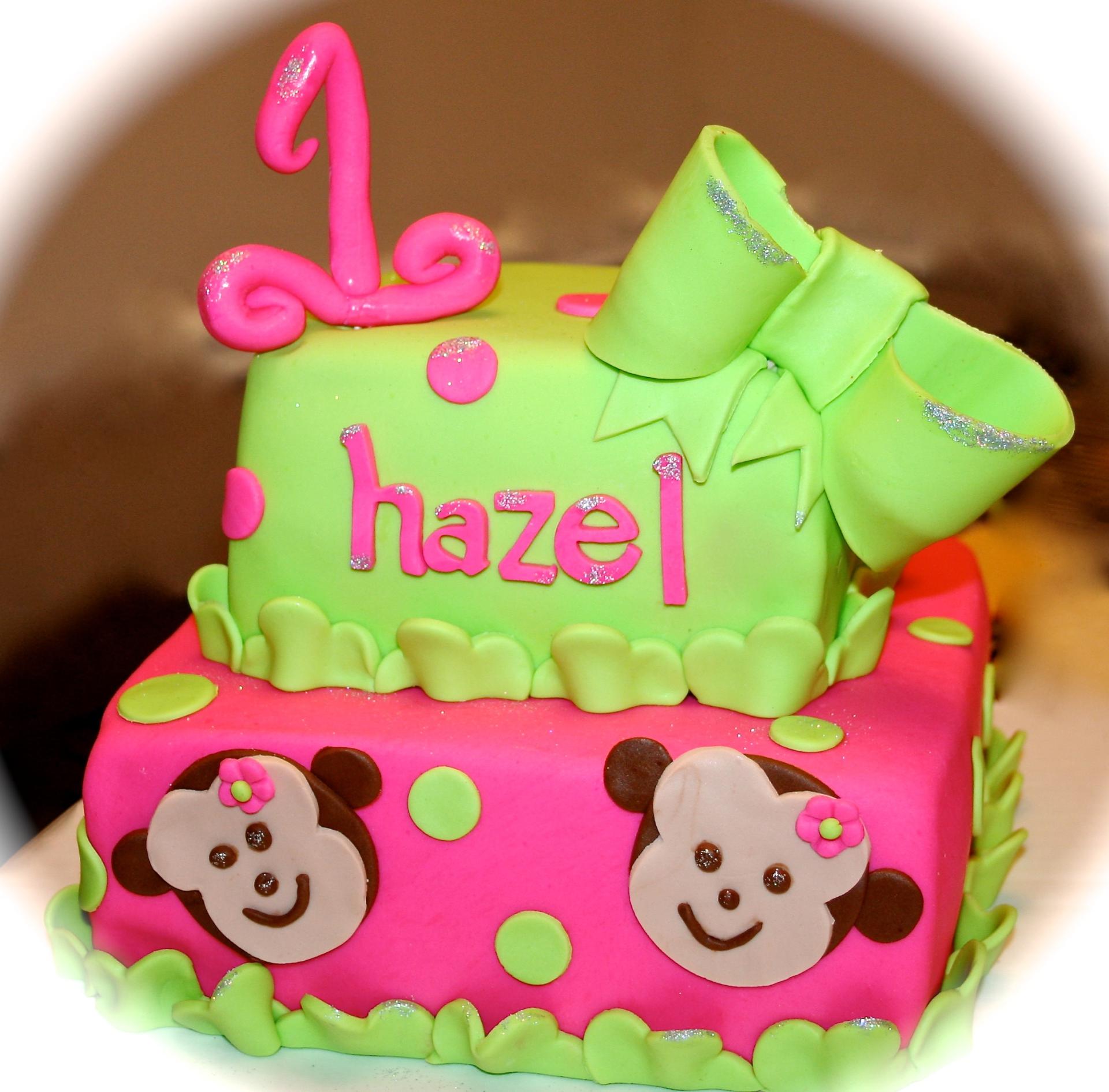 First Birthday 2 tiered Custom Neon Cake