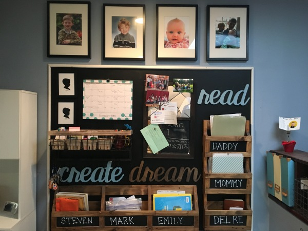We just added some chalkboard paint to the backdrop.  Added some clever signs that Christine had lying around and gave every person in the family folders, folders, folders!