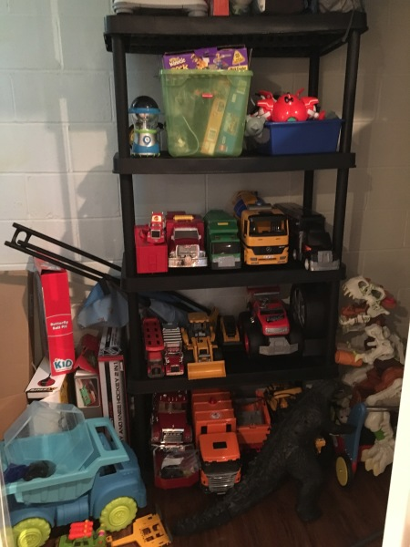 "The ""utility"" closet was a perfect space for truck overload!"