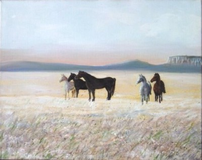 "Horses in the Frost 16""x20"" framed acrylic $275"