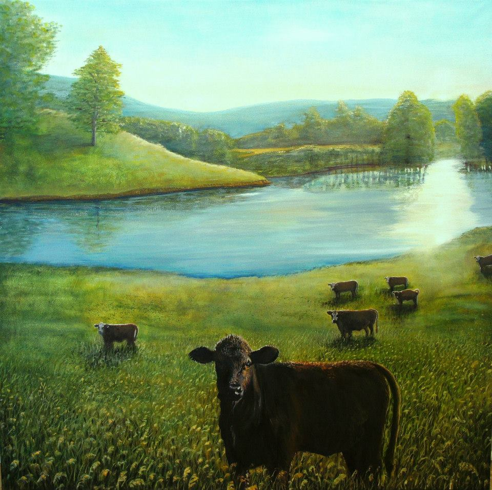 "Outstanding in Their Field 24""x24"" print $95"