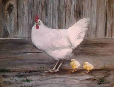 "White Hen and Chicks 11""x14"" print $50"