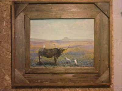 "Longhorn in the bluebells 14""x18"" framed acrylic $275"