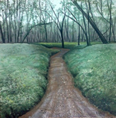 "Wherever the Path May Lead  12""x12"" framed acrylic $150"