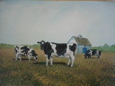 "Cows with Barn 11""x14"" print $50"