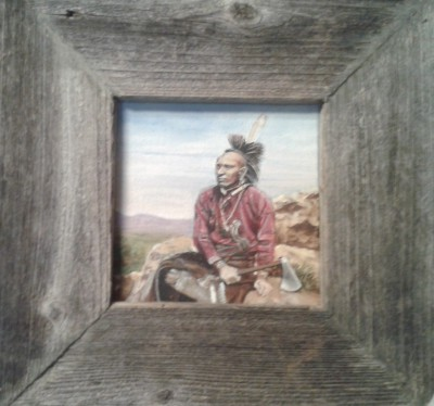 "Osage Warrior 8""x8"" acylic framed $75"