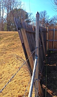 wood fence in need of repair