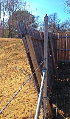 wood fence in need of repair