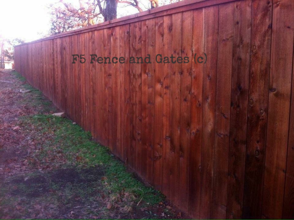 Cedar Cap and Trim Stained Fence
