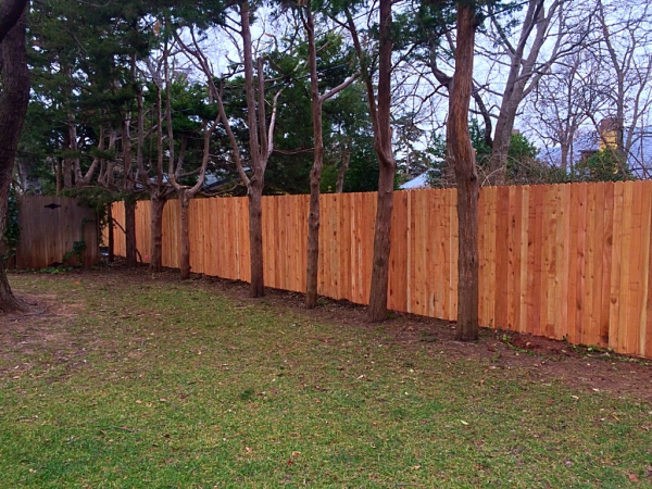 Residential Cedar Standard Stockade Privacy Wood Fence on Steel Posts Edmond Oklahoma Fence Gate Company