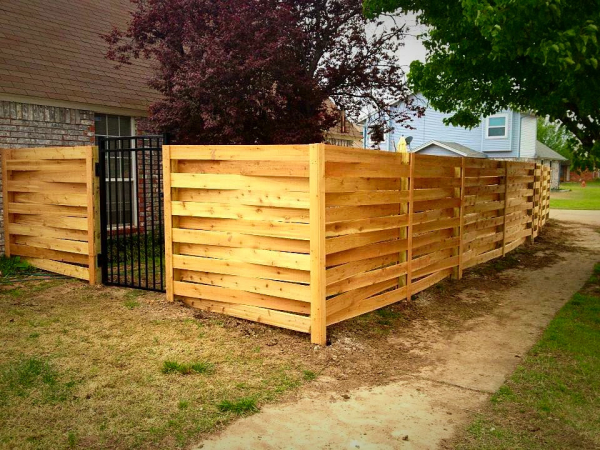 Residential Cedar Basket Weave Privacy Fence with Iron Montage Gate Edmond Oklahoma Fence Gate Company
