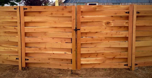 Edmond Oklahoma Fence and Gate Company Security Double Wood Cedar Basketweave Fence Lawn Mowers and Easy Access Property