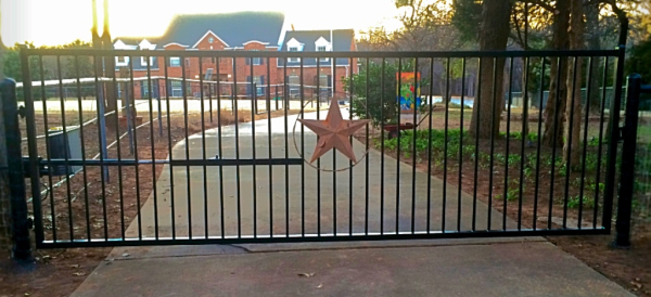 Edmond Oklahoma Fence and Gate Company Security Single Flat Top Iron Gate with Solar Gate Opener Entry Access System Iphone Wireless Smart Phone Capable Emergency Shut Off Alarm Remote Keyless