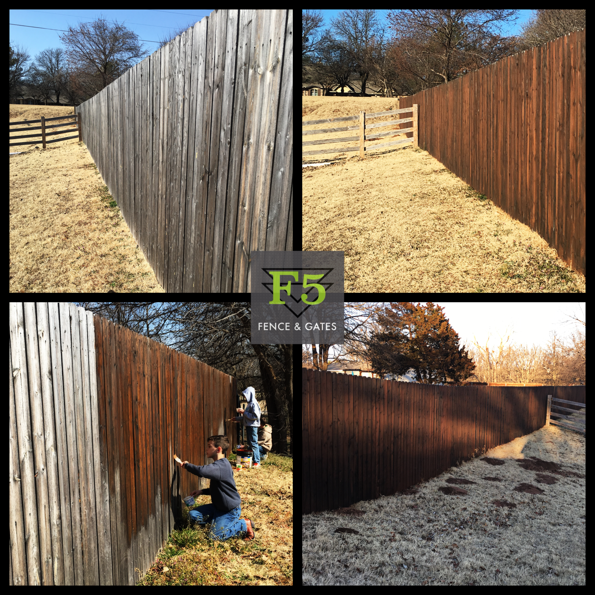 Stain Fence before and After