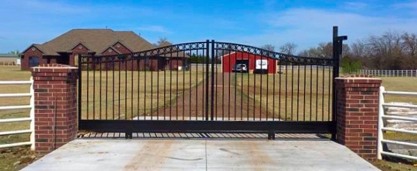 Edmond Oklahoma Fence and Gate Company Security Double Iron Gate with Solar Gate Opener Entry Access System Iphone Wireless Smart Phone Capable Emergency Shut Off Alarm Remote Keyless