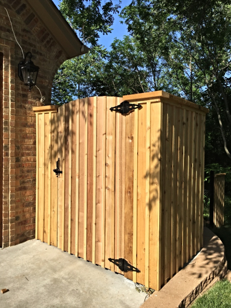 Edmond Oklahoma Fence and Gate Company Security Fence and Arch Top Cedar Single Walk Gate with Cedar Bats and Beautiful Gate Hardware