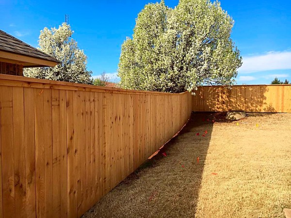 Cedar Cap and Trim Wood Picket Privacy Property Fence Security Dog Fence Play Yard Kids Edmond Oklahoma Fence Gate Company