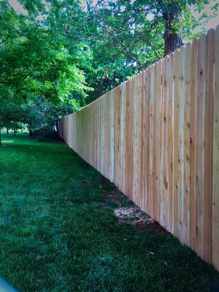 Residential 6' Stockade Dog Eared Wood Privacy Fence Edmond Oklahoma Fence Company