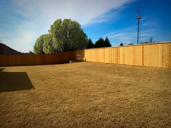 Residential Cedar Cap and Trim 6' Privacy Fence Edmond Oklahoma Fence Gate Company